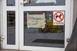 Obok zakazu wstępu ze zwierzętami do sklepu pojawił się zakaz wchodzenia osób kaszlących. Panika narasta. Już nie ma grypy. Jest koronawirus. Mało kto jeszcze widział czy znał chorego, ale obrazki z Włoch podgrzewały atmosferę.