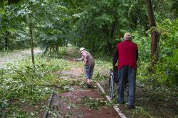 Grobla Jednaczewska, starsza pani odgarnia gałęzie, aby mąż przy wózku mógł pokonać chodnik. Sprawa nie jest prosta, bo cała droga i chodnik usiane są gałęziami, które pospadały w wyniku ulewy.