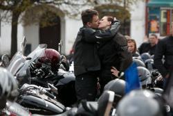 Łomża, początek sezonu motocyklowego n/z zakochani w motocyklach i sobie Agnieszka i Jakub.