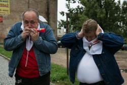 Wyjazd członków Solidarności Region Mazowsze na kulminację protestów do Warszawy n/z Andrzej Charubin (przewodniczący kolneńskiej Solidarności) i Henryk Piekarski (przewodniczący Łomżyńskiej Solidarności).