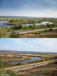 Szpetne, żółte barierki ochronne wzdłuż Narwi będą przykuwać wzrok spoglądając na Narew z góry Królowej Bony. Ścieżka zaczyna się w Łomży, a kończy w polu pod Siemieniem. Ma długość ok. 2,246 km. Zdjęcie dolne wykonano na jesieni, ale wiosną i latem na tle zieleni barierki będą widoczne idealnie.